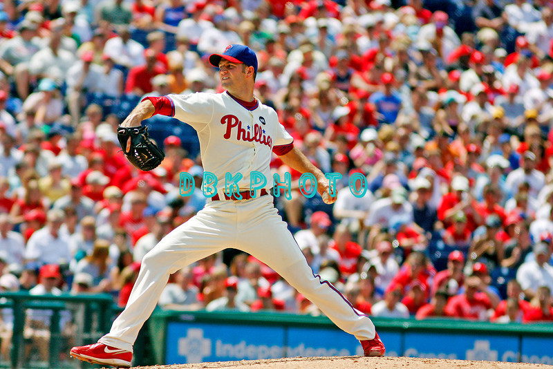 July 12, 2009: Phillies pitcher J.A. Happ (43) prepares to deliver a pitch to home plate during the game between the Pittsburgh Pirates and the Philadelphia Phillies at Citzens Bank Park in Philadelphia, PA. The Phillies beat the Pirates 5-2. Donald B. Kravitz