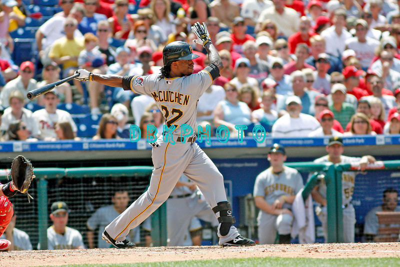 July 12, 2009: Pirates centerfielder Andrew McCutchen (22) lines a ball into left field during the game between the Pittsburgh Pirates and the Philadelphia Phillies at Citzens Bank Park in Philadelphia, PA. The Phillies beat the Pirates 5-2. Donald B. Kravitz