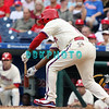 27 July 2008: Philadelphia Phillies' Jimmy Rollins (11) misses a bunt attempt on a low pitch late in the game against the Atlanta Braves. Philadelphia went on to win defeating the Brave 12-10 in Citizens Bank Stadium in Philadelphia, PA