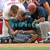 27 July 2008: Philadelphia Phillies' outfielde (L)r Shane Victorino (8) encourages Braves catcher Brian McCann as the Braves trainer and manager Bobby Cox look on. McCann was injured at a play at home after Victorino crashed in to him at a play at home. Philadelphia went on to win defeating the Brave 12-10 in Citizens Bank Stadium in Philadelphia, PA