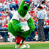 27 July 2008:  The Philadelphia Phillies' mascot, The Philly Phannatic entertains the 45,000 plus crowd in between innings. Philadelphia went on to win defeating the Brave 12-10 in Citizens Bank Stadium in Philadelphia, PA