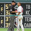 27 July 2008: Philadelphia Phillies' centerfielder Shane Victorino has some additional words for Umpire Mike Reilly after Reilly called Victorino out at 2nd base on a steal attempt. Philadelphia went on to win defeating the Brave 12-10 in Citizens Bank Stadium in Philadelphia, PA