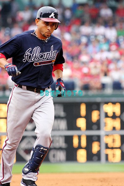 27 July 2008: Atlanta Braves 3rd baseman Omar Infante, (4) rounds the bases after slaming a back to back homer in the fourth inning against the Philadelphia Phillies. Philadelphia went on to win defeating the Brave 12-10 in Citizens Bank Stadium in Philadelphia, PA