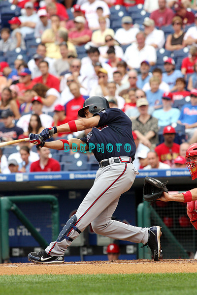 27 July 2008: Atlanta Braves 3rd baseman Omar Infante, (4) slams a back to back homer in the fourth inning against the Philadelphia Phillies. Philadelphia went on to win defeating the Brave 12-10 in Citizens Bank Stadium in Philadelphia, PA