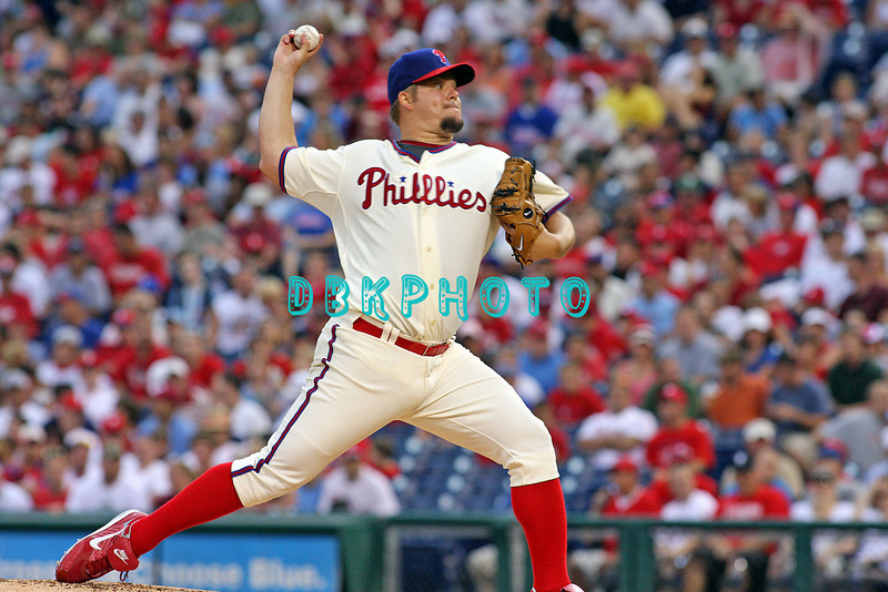27 July 2008: Philadelphia Phillies' starting pitcher Joe Blanton lasted two innings and giving up two runs before beaing replaced by Adam Eaton. Philadelphia went on to win defeating the Brave 12-10 in Citizens Bank Stadium in Philadelphia, PA