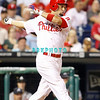 September 7, 2011 Philadelphia Phillie's, outfielder, Shane Victorino, #8 fouls off a pitch during the game against the Atlanta Braves at Citizens Bank Park in Philadelphia, PA. The Phillie's defeated the Braves 3-2.
