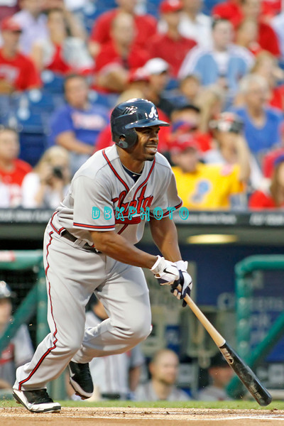 September 7, 2011 Atlanta Braves outfielder Michael Bourn, #24 takes off for first base during the game against the Atlanta Braves at Citizens Bank Park in Philadelphia, PA. The Phillie's defeated the Braves 3-2.