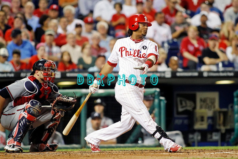 September 7, 2011 Philadelphia Phillie's, Michael Martinez, shortstop, #19, hits a line drive to 2nd base during the game against the Atlanta Braves at Citizens Bank Park in Philadelphia, PA. The Phillie's defeated the Braves 3-2.