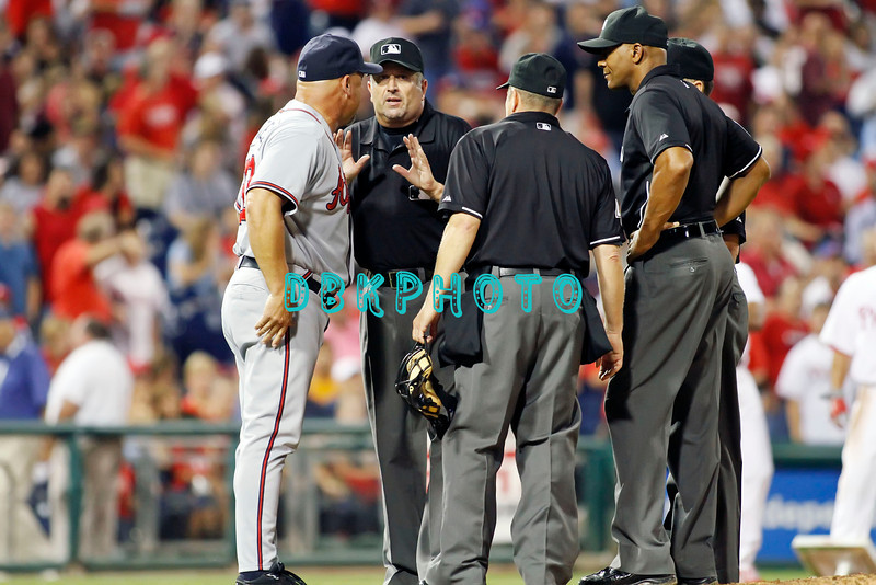 September 7, 2011 Atlanta Braves  manager, Fredi Gonzalez #33 argues with the umpires on a disputed call during the game against the Atlanta Braves at Citizens Bank Park in Philadelphia, PA. The Phillie's defeated the Braves 3-2.