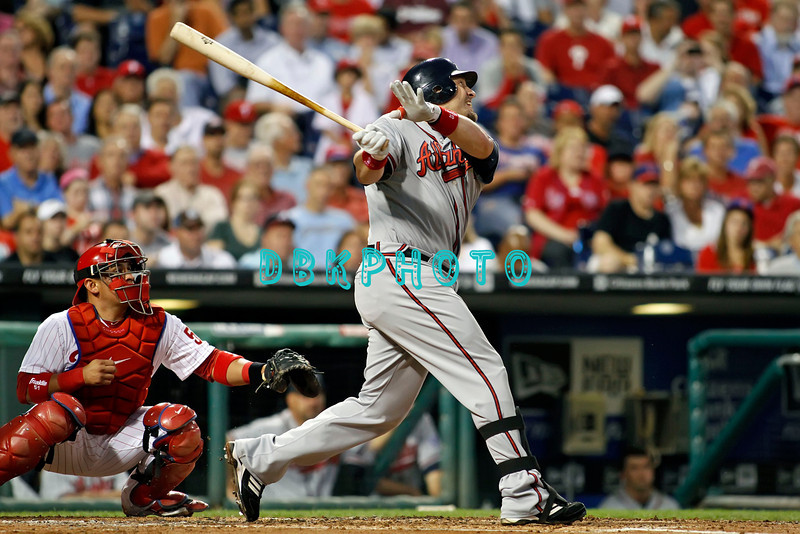 September 7, 2011 Atlanta Braves 1st baseman Eric Hinske, #20 watches a long fly ball go foul during the game against the Atlanta Braves at Citizens Bank Park in Philadelphia, PA. The Phillie's defeated the Braves 3-2.