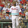 September 7, 2011 Philadelphia Phillie's, Ryan Howard, 1st Baseman, #6,  walks back to the dug out after striking out ball during the game against the Atlanta Braves at Citizens Bank Park in Philadelphia, PA. The Phillie's defeated the Braves 3-2.