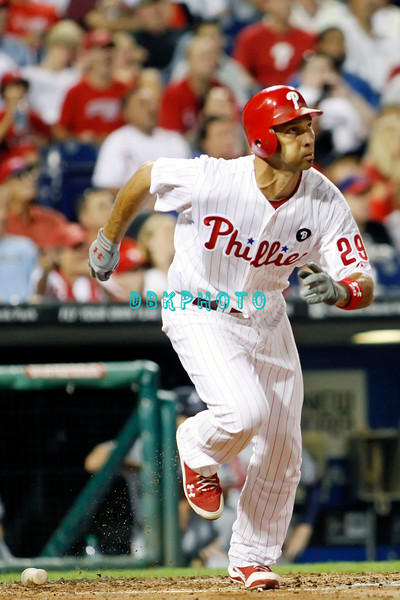September 7, 2011 Philadelphia Phillie's, outfielder, Raul Ibanez, #29 takes off for 1st base after hitting a home run during the game against the Atlanta Braves at Citizens Bank Park in Philadelphia, PA. The Phillie's defeated the Braves 3-2.