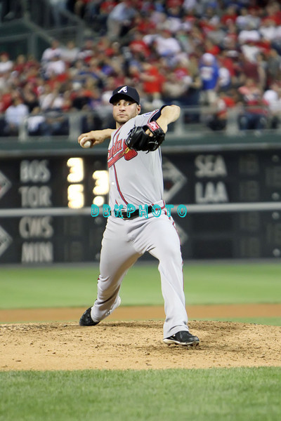 September 7, 2011 Atlanta Braves pitcher  Brandon Beachy, #37 delivers a pitch to home during the game against the Atlanta Braves at Citizens Bank Park in Philadelphia, PA. The Phillie's defeated the Braves 3-2.