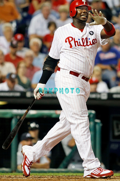 September 7, 2011 Philadelphia Phillie's, Ryan Howard, 1st Baseman, #6,  watches a long foul ball during the game against the Atlanta Braves at Citizens Bank Park in Philadelphia, PA. The Phillie's defeated the Braves 3-2.