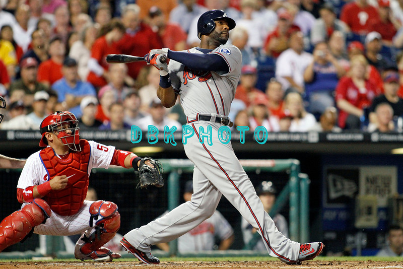September 7, 2011 Atlanta Braves outfielder Jason Heyward, #22 hits a long fly ball during the game against the Atlanta Braves at Citizens Bank Park in Philadelphia, PA. The Phillie's defeated the Braves 3-2.