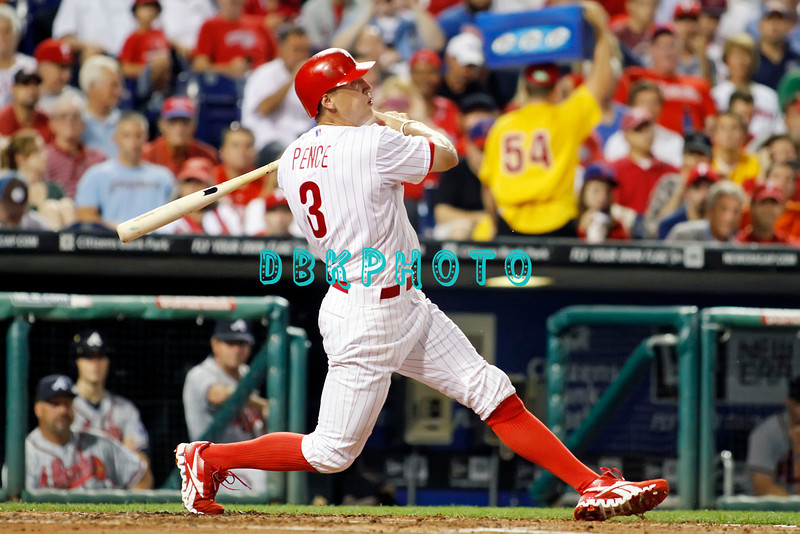 September 7, 2011 Philadelphia Phillie's,outfielder, Hunter Pence, #3 hits a long fly ball during the game against the Atlanta Braves at Citizens Bank Park in Philadelphia, PA. The Phillie's defeated the Braves 3-2.
