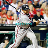 September 7, 2011 Atlanta Braves shortstop, Alex Gonzalez, #2 hits a foul ball during the game against the Atlanta Braves at Citizens Bank Park in Philadelphia, PA. The Phillie's defeated the Braves 3-2.