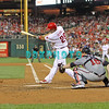 September 7, 2011 Philadelphia Phillie's, outfielder, Raul Ibanez, #29 hits a ground ball to the pitcher during the game against the Atlanta Braves at Citizens Bank Park in Philadelphia, PA. The Phillie's defeated the Braves 3-2.