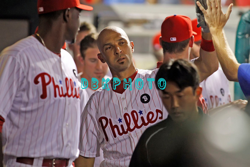 September 7, 2011 Philadelphia Phillie's, outfielder, Raul Ibanez, #29 get high fives after hitting a home run during the game against the Atlanta Braves at Citizens Bank Park in Philadelphia, PA. The Phillie's defeated the Braves 3-2.