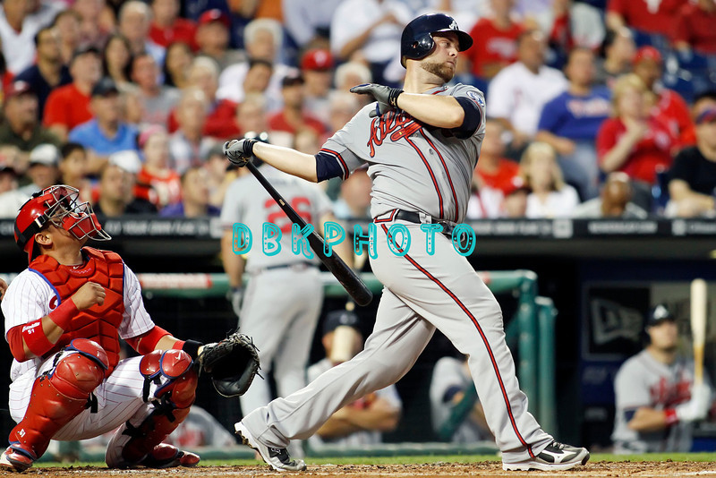 September 7, 2011 Atlanta Braves catcher, Brian McCann, #16  fouls off a pitch during the game against the Atlanta Braves at Citizens Bank Park in Philadelphia, PA. The Phillie's defeated the Braves 3-2.