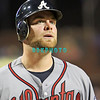 September 7, 2011 Atlanta Braves catcher, Brian McCann, #16 walks back to the dugout during the game against the Atlanta Braves at Citizens Bank Park in Philadelphia, PA. The Phillie's defeated the Braves 3-2.