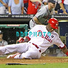 September 7, 2011 Philadelphia Phillie's, outfielder, John Mayberry, Jr #15 is safe as he slides him to home during the game against the Atlanta Braves at Citizens Bank Park in Philadelphia, PA. The Phillie's defeated the Braves 3-2.