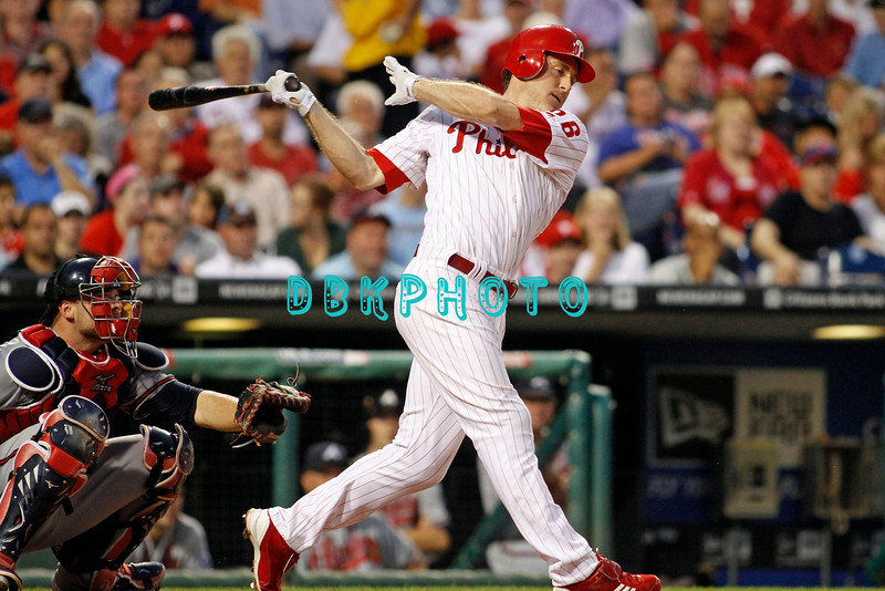 September 7, 2011 Philadelphia Phillie's,#26 2nd Baseman, Chase Utley, hits a line a line drive during the game against the Atlanta Braves at Citizens Bank Park in Philadelphia, PA. The Phillie's defeated the Braves 3-2.