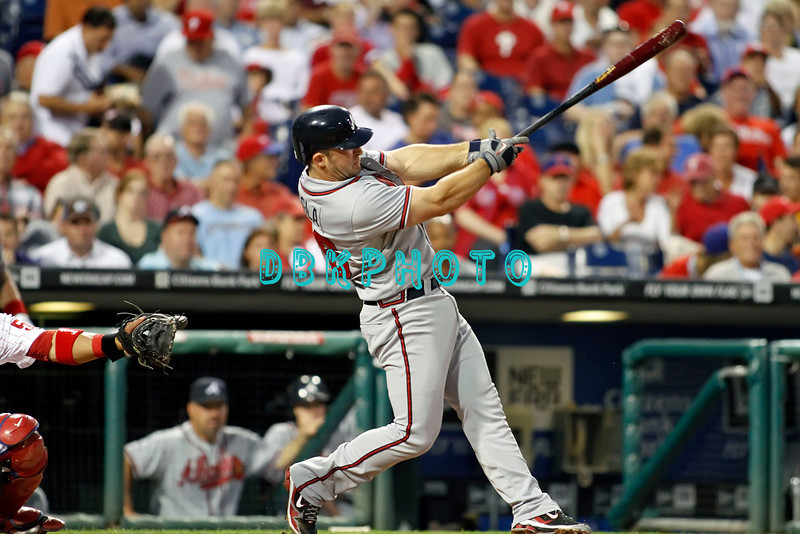 September 7, 2011 Atlanta Braves #26, Dan Uggla, 2nd baseman hits a long fly ball to left during the game against the Atlanta Braves at Citizens Bank Park in Philadelphia, PA. The Phillie's defeated the Braves 3-2.