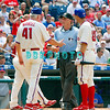 July 22, 2009: Phillies Manager Charlie Manuel (41) argues with homeplate unpire Dan Iassogna over a foul tip called a strike off the bat of Phillies catcher Paul Bako (23) during the game between the Chicago Cubs and the Philadelphia Phillies at Citzens Bank Park in Philadelphia, PA. The Cubs ended the Phillies 10 game winning streak by defeating them 10-5. Donald B. Kravitz/CSM