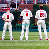 July 22, 2009: Shane Victorino (8), Ryan Hpoward (6) and Jason Werth (26) look toward the flag during the singing of the National Anthem prior to the game between the Chicago Cubs and the Philadelphia Phillies at Citzens Bank Park in Philadelphia, PA. The Cubs ended the Phillies 10 game winning streak by defeating them 10-5. Donald B. Kravitz/CSM