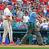 July 22, 2009: Phillies Manager Charlie Manuel (41) gets ejected by homeplate unpire Dan Iassogna over a foul tip called a strike off the bat of Phillies catcher Paul Bako (23) during the game between the Chicago Cubs and the Philadelphia Phillies at Citzens Bank Park in Philadelphia, PA. The Cubs ended the Phillies 10 game winning streak by defeating them 10-5. Donald B. Kravitz/CSM