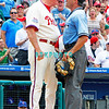 July 22, 2009: Phillies Manager Charlie Manuel (41) goes chest to chest with homeplate unpire Dan Iassogna after being ejected from the game between the Chicago Cubs and the Philadelphia Phillies at Citzens Bank Park in Philadelphia, PA. The Cubs ended the Phillies 10 game winning streak by defeating them 10-5. Donald B. Kravitz/CSM