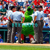 July 22, 2009: The Phillies mascot The Phiilie Phanatic joins in on the umpire meeting prior to the game between the Chicago Cubs and the Philadelphia Phillies at Citzens Bank Park in Philadelphia, PA. The Cubs ended the Phillies 10 game winning streak by defeating them 10-5. Donald B. Kravitz/CSM