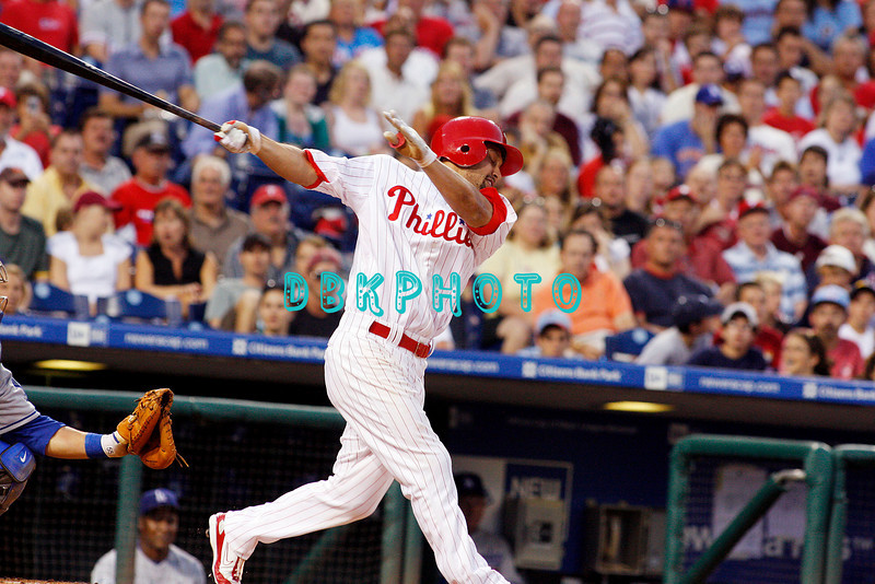 25 August 2008: Philadelphia Phillies' Centerfielder, Shane Victorino (8) fouls off the pitch during the game against the Los Angeles Dodgers. The Phillies defeated the Dodgers 5-0 in Citizens Bank Stadium in Philadelphia, PA