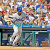 25 August 2008:  Los Angeles Dodgers' Shortstop Angel Berroa (13) prepares to bunt in the game against the Philadelphia Phillies. The Phillies defeated the Dodgers 5-0 in Citizens Bank Stadium in Philadelphia, PA