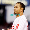 25 August 2008: Philadelphia Phillies' Centerfielder Shane Victorino (8) awaits his glove after making the third out in the game against the Los Angeles Dodgers. The Phillies defeated the Dodgers 5-0 in Citizens Bank Stadium in Philadelphia, PA