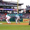 25 August 2008: Los Angeles Dodgers' Leftfielder, Manny ramirez (99) takes a lead off 1st base as Phillies' 1st baseman Ryan Howard (6) tries to keep him close in the game against the Philadelphia Phillies. The Phillies defeated the Dodgers 5-0 in Citizens Bank Stadium in Philadelphia, PA