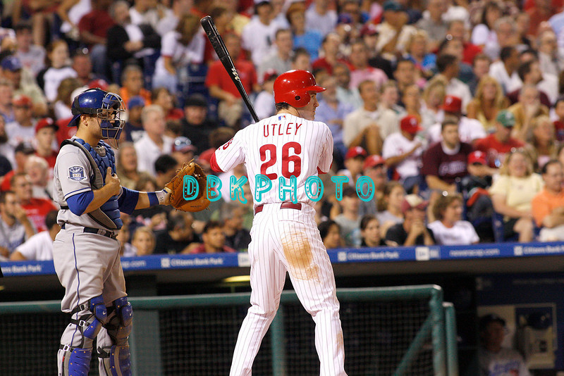 25 August 2008: Philadelphia Phillies' 2nd Baseman Chase Utlley (26)gets an intentional walk as Dodgers' catcher Russell Martin (55) holds out the  glove during the game against the Los Angeles Dodgers. The Phillies defeated the Dodgers 5-0 in Citizens Bank Stadium in Philadelphia, PA