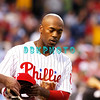 25 August 2008: Philadelphia Phillies' Shortstop, Jimmy Rollins (11) gets his hat handed to him after grounding out in the game against the Los Angeles Dodgers. The Phillies defeated the Dodgers 5-0 in Citizens Bank Stadium in Philadelphia, PA