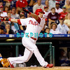 25 August 2008: Philadelphia Phillies' infielder Greg Dobbs (19) swings and misses as he pinch hits late in the game against the Los Angeles Dodgers. The Phillies defeated the Dodgers 5-0 in Citizens Bank Stadium in Philadelphia, PA