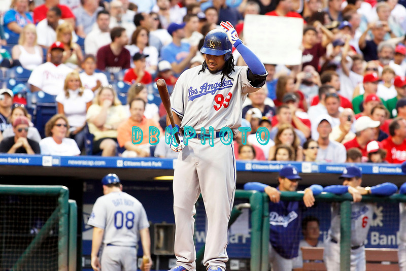 25 August 2008:  Los Angeles Dodgers' Leftfielder, Manny Ramirez (99) adjusts his batting helmet before stepping into the batters box in the game against the Philadelphia Phillies. The Phillies defeated the Dodgers 5-0 in Citizens Bank Stadium in Philadelphia, PA