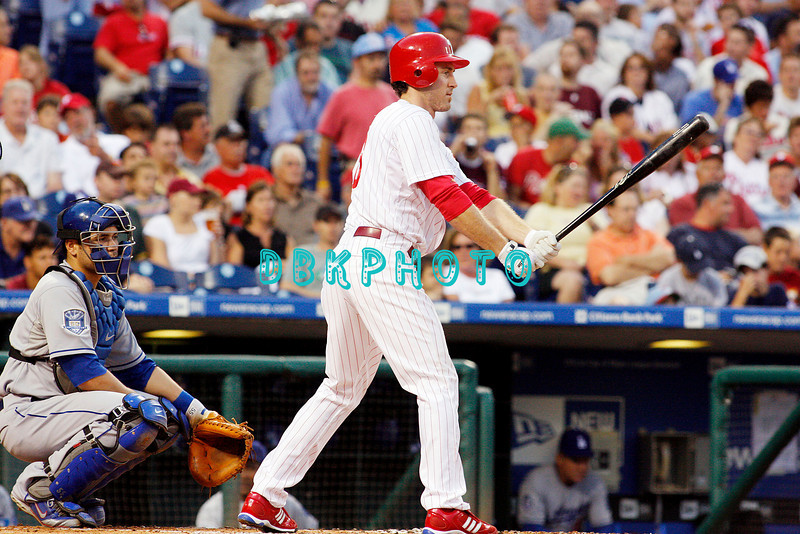 25 August 2008: Philadelphia Phillies' 2nd baseman, Chase Utley (26) and Dodgers catcher Russell Martin (55) awaits a pitch in the game against the Los Angeles Dodgers. The Phillies defeated the Dodgers 5-0 in Citizens Bank Stadium in Philadelphia, PA