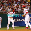 25 August 2008: Philadelphia Phillies' shortstop Jimmy Rollins (11) gets under a high pop as 2nd baseman Chase Utley (26) watches in the game against the Los Angeles Dodgers. The Phillies defeated the Dodgers 5-0 in Citizens Bank Stadium in Philadelphia, PA