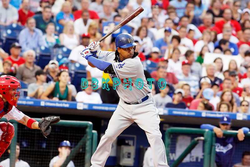 25 August 2008:  Los Angeles Dodgers' Leftfielder, Manny Ramirez (99) waits on a pitch in the game against the Philadelphia Phillies. The Phillies defeated the Dodgers 5-0 in Citizens Bank Stadium in Philadelphia, PA