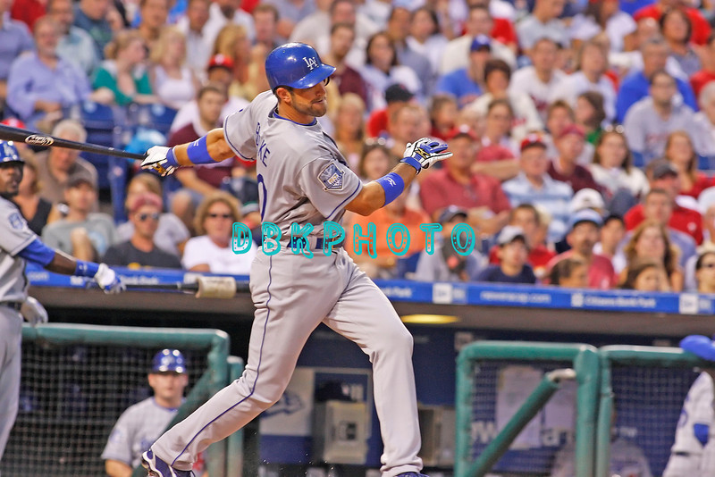 25 August 2008: Los Angeles Dodgers' 3rd baseman Casey Blake (30) swings and misses in the game against the Philadelphia Phillies. The Phillies defeated the Dodgers 5-0 in Citizens Bank Stadium in Philadelphia, PA