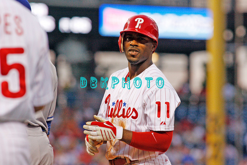 25 August 2008: Philadelphia Phillies'Shortstop, Jimmy Rollins (11) looks back to the dugout after beating out a single during the game against the Los Angeles Dodgers. The Phillies defeated the Dodgers 5-0 in Citizens Bank Stadium in Philadelphia, PA