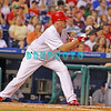 25 August 2008: Philadelphia Phillies' pitcher Brett Myers (39) prepares to bunt in the game against the Los Angeles Dodgers. The Phillies defeated the Dodgers 5-0 in Citizens Bank Stadium in Philadelphia, PA