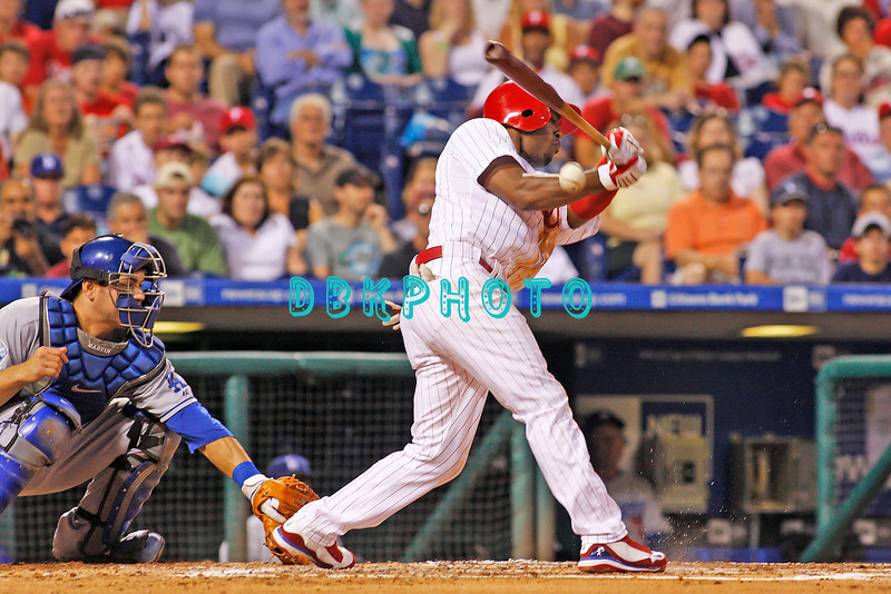 25 August 2008: Philadelphia Phillies' Shortstop, Jimmy Rollins (11) fouls off a pitch as Dodgers catcher Russell Martin (55) watches in the game against the Los Angeles Dodgers. The Phillies defeated the Dodgers 5-0 in Citizens Bank Stadium in Philadelphia, PA