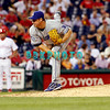 25 August 2008: Los Angeles Dodgers' pitcher Tanyon Sturtze (37) fires a pitch in the game against the Philadelphia Phillies. The Phillies defeated the Dodgers 5-0 in Citizens Bank Stadium in Philadelphia, PA