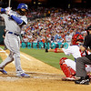 25 August 2008: Los Angeles Dodgers' Leftfielder, Manny Ramirez (99) dodges an inside pitch as Phillies' catcher Chris Coste(27) holds out the glove in the game against the Philadelphia Phillies. The Phillies defeated the Dodgers 5-0 in Citizens Bank Stadium in Philadelphia, PA